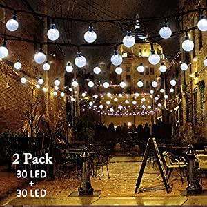 Vmanoo Christmas Solar Powered Globe Lights,30 LED (19.7ft) Globe Ball Fairy String Light for Outdoor, Xmas Tree, Garden, Patio, Home, Lawn, Holiday, Wedding Decor, Party 2 Pack (White)