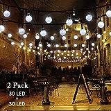 #8: VMANOO Christmas Solar Powered Globe Lights,30 LED (19.7ft) Globe Ball Fairy String Light for Outdoor, Xmas Tree, Garden, Patio, Home, Lawn, Holiday, Wedding Decor, Party 2 Pack (White)