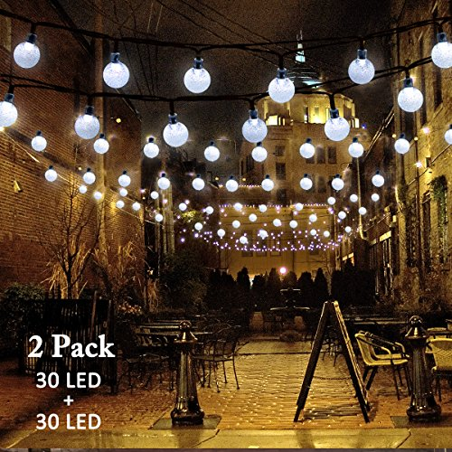 vmanoo christmas solar powered globe lights30 led 197ft globe ball fairy string light for outdoor xmas tree garden patio home lawn holiday