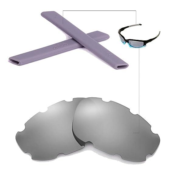 Walleva Wechselgläser Und Earsocks für Oakley Split Jacket Sonnenbrille - Mehrfache Optionen (Klare Linsen + schwarzer Gummi) aGxYwRCl3q