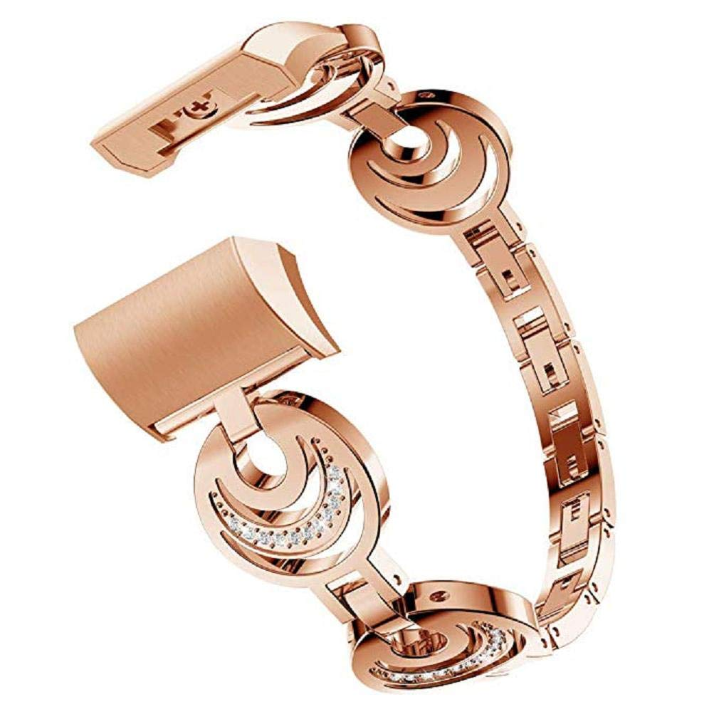 Fashion Clearance! Noopvan Straps for Fitbit Charge 2, Replacement Metal Bracelet Adjustable Fitbit Charge 2 Bands Bling Rhinestone (Rose Gold)