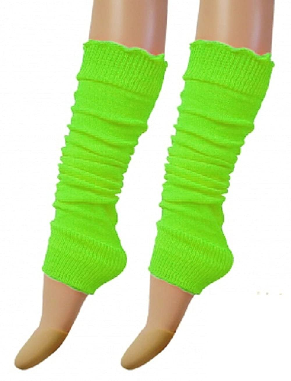 Angies Fashion Luxurious Ladies 80's Dance Plain Ribbed Leg Warmers Neon Leg warmers in Hot Pink 12 Colours