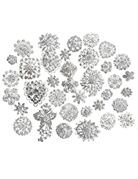 L'vow Silver Crystal Broaches Brooch Pins Wedding Brooches Bouquet Kit Pack of 25Pcs