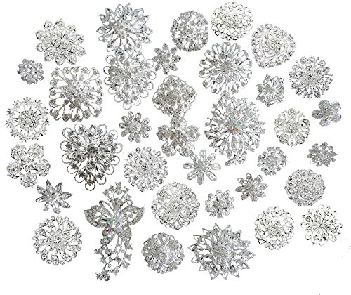 L'VOW Silver Crystal Broaches Brooch Pins Wedding Brooches Bouquet Kit Pack of 25Pcs ()