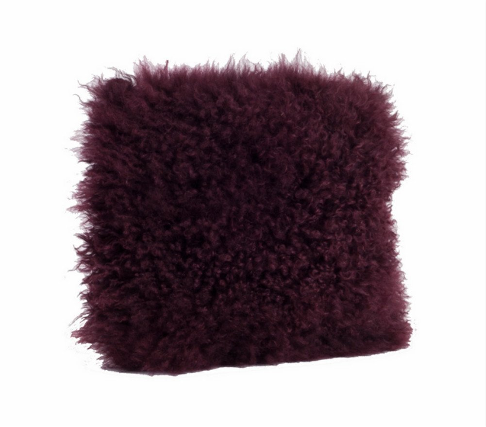 Fenncoスタイル純正Mongolian Lamb Fur Down Filled装飾スロー枕、多くの色 20-inch Square Case Only パープル 20-inch Square Case Only エッグプラント B07DFGQHR4