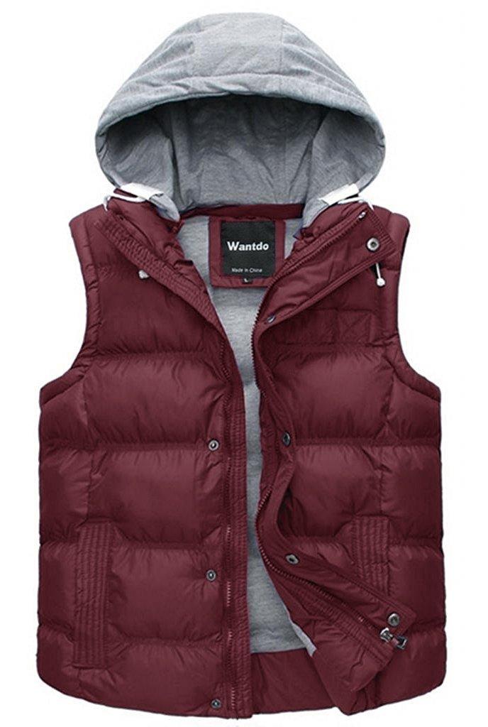Wantdo Lady's Water Resistant Winter Puffer Vest Outdoor Jacket Hood Wine Red M by Wantdo