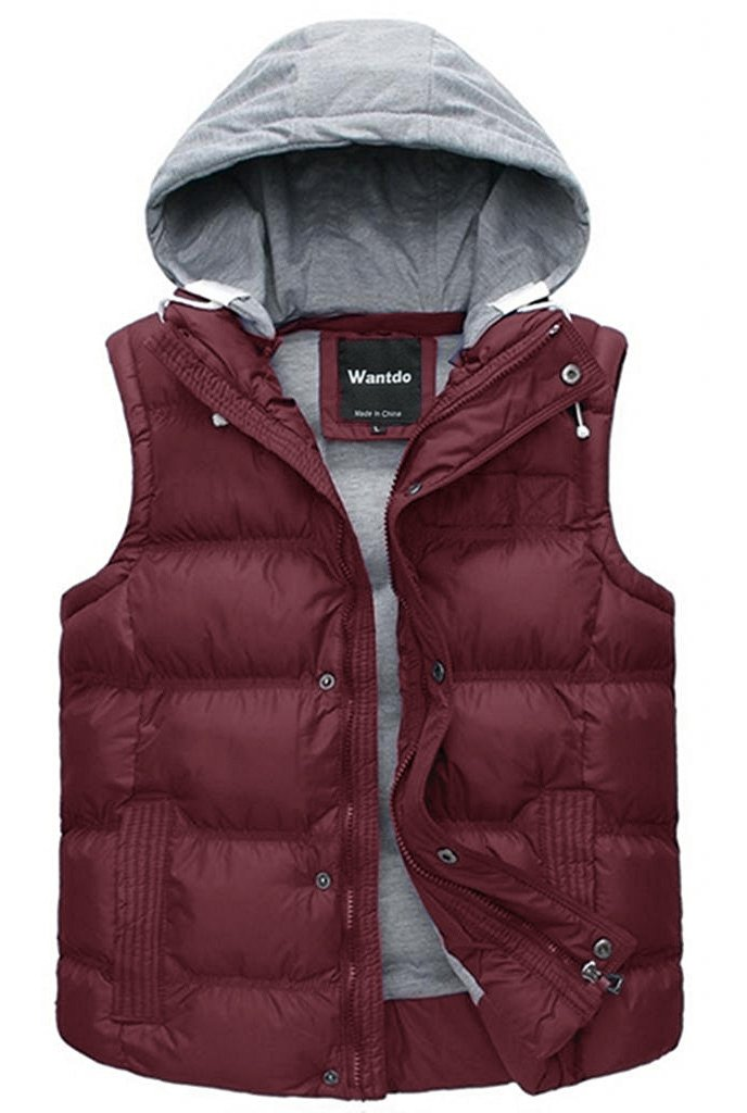 Wantdo Women's Quilted Padding Puffer Vest Outwear With Removable Hood US Medium Dull Red