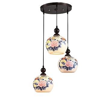 Maniny Lámpara de cerámica de 3 Cabezales, Lámpara de Techo ...