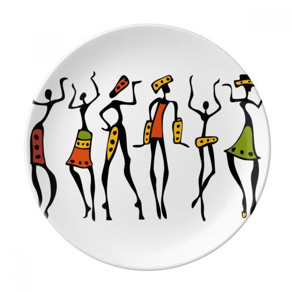 Primitive Africa Aboriginal Black Dance Totems Dessert Plate Decorative Porcelain 8 inch Dinner Home