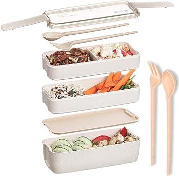 Amazon.com: Fiambrera Bento Box de 30.4 fl oz con divisores ...