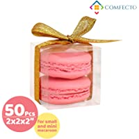 COMFECTO Clear Plastic Boxes 50 Pcs 2 x 2 x 2 Inch for Wedding Party Baby Shower Favors, Transparent Packing Box for MiniGifts Macaron Cupcake Candy Cookies, Single Individual Packaging for Display