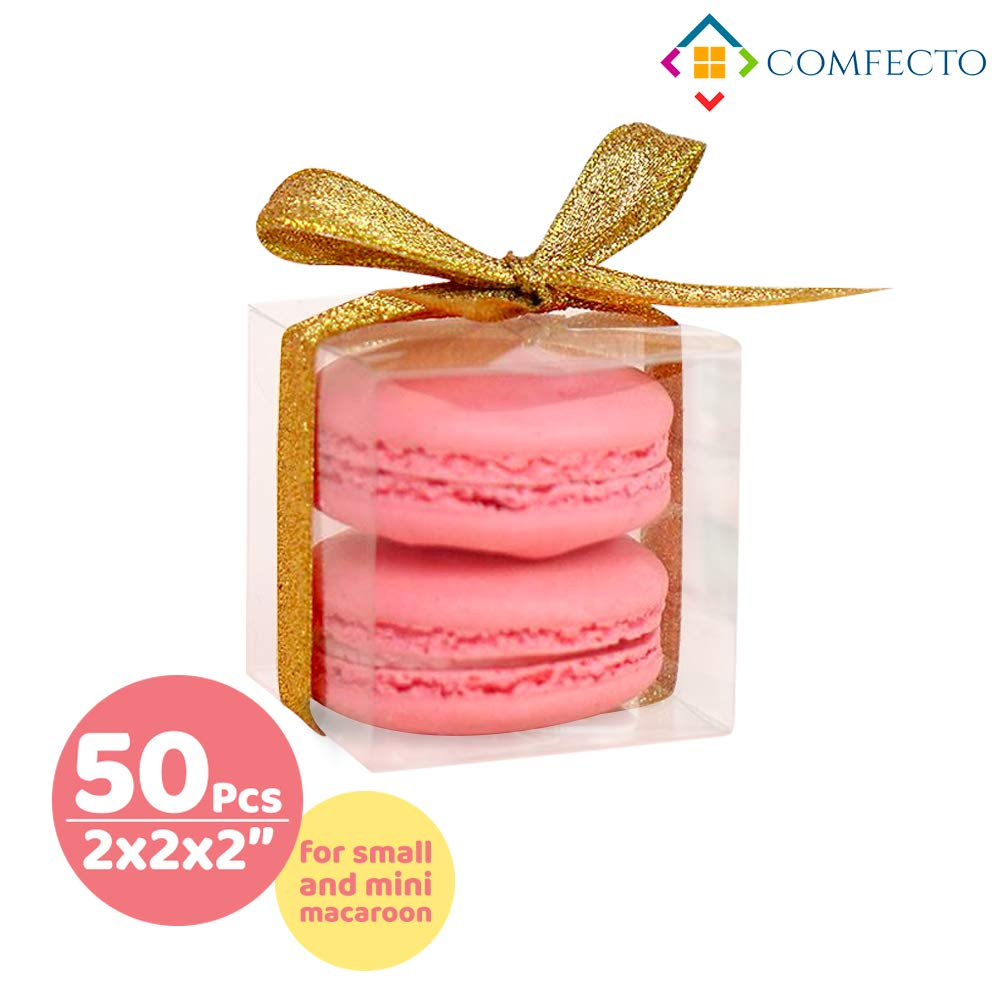 COMFECTO Clear Plastic Boxes 50 Pcs 2 x 2 x 2 Inch for Wedding Party Baby Shower Favors, Transparent Packing Box for MiniGifts Macaron Cupcake Candy Cookies, Single Individual Packaging for Display by COMFECTO