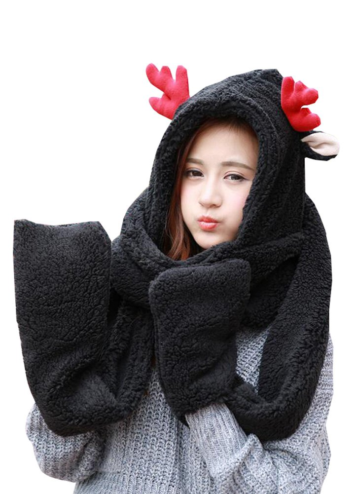 Wicky LS Christmas Accessories, Including Hat and Scarf and Gloves (One Size, Adults Style-Black)
