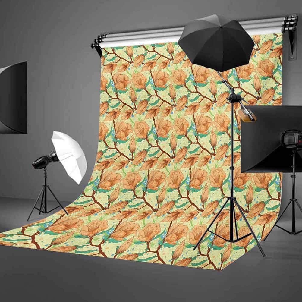10x12 FT Photography Backdrop Vintage Magnolia Flower in Watercolor Exotic Foliage Gardening Plants Background for Kid Baby Boy Girl Artistic Portrait Photo Shoot Studio Props Video Drape Vinyl