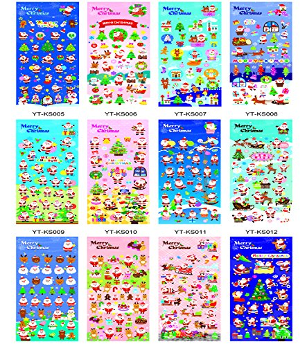 Megrocle 12 Different Sheets Merry Christmas 3D Stickers Puffy Dimensional Scrapbook Stickers Self Adhesive for Kids Including Santa, Snowman, Reindeer, Tree, Ornaments, Snow Flakes and More for ()