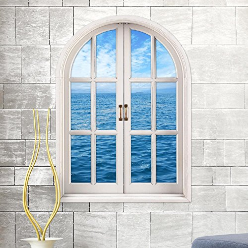 Home decoration Sky & Ocean 3D Stereo Wall Stickers Window Stickers Window Blinds Simulation Window Living Room Bedroom Study Room Decorative Painting HD Self Adhesive Stickers -58 80cm