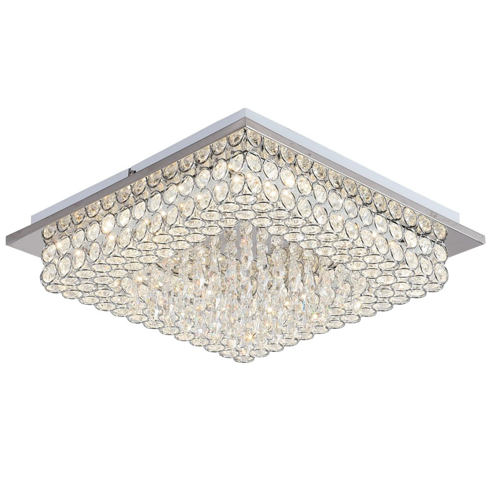Horisun Crystal Chandelier LED Ceiling Light Fixture 4000K Dimmable Flush Mount Lighting Square Pendant Lamp for Dining Room, Bathroom, Bedroom, Living Room, 5 Years Warranty