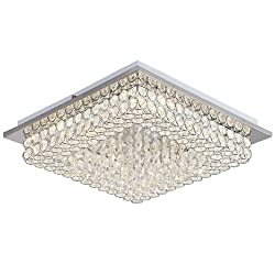 Horisun Crystal Chandelier LED Ceiling Light Fixture 4000K Dimmable Flush Mount Lighting Square Pendant Lamp for Dining Room, Bathroom, Bedroom, Living Room, 5 Years Warranty