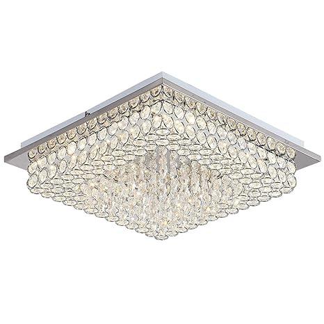 Horisun Crystal Chandelier LED Ceiling Light Fixture 4000K Dimmable ...