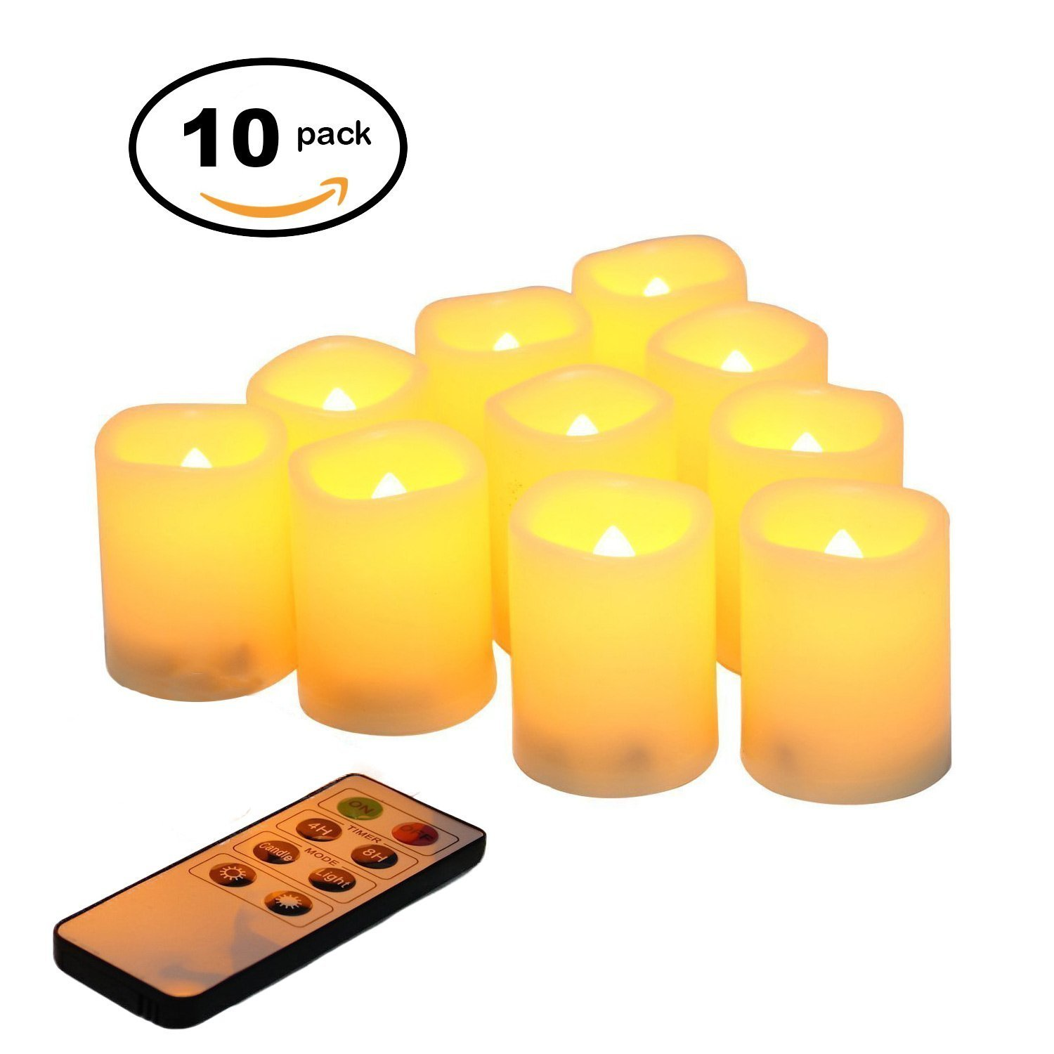 WIFUME Flameless Realistic Candles LED Light Battery Operated Flikering Flameless Votive Candles, LED Votive Candles with Remote, Set of 10, D1.5 x H2 Warm Yellow