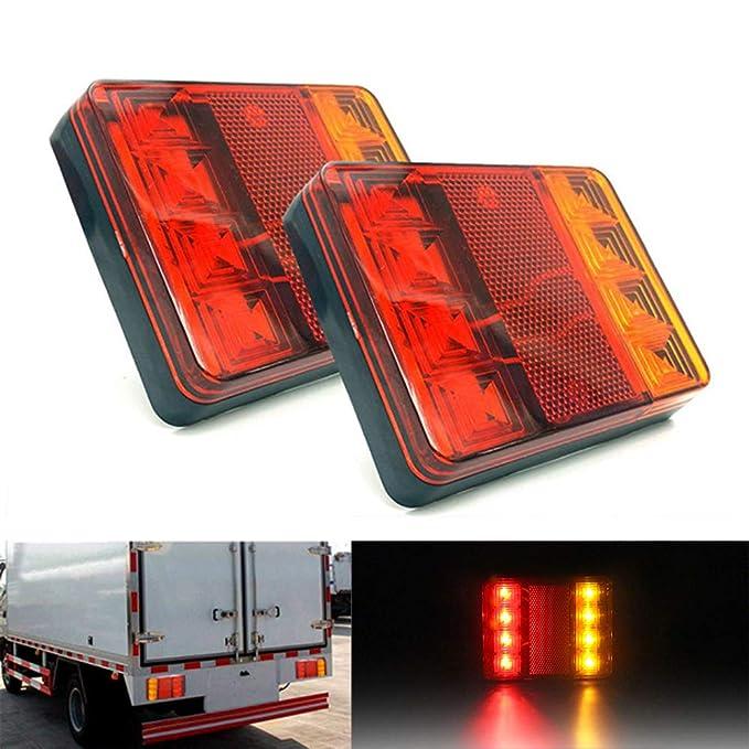 KKmoon Luces Traseras Remolque 12V LED Se/ñal de Giro /ámbar Rojo Luz de Posici/ón Lateral Reflector Remolque