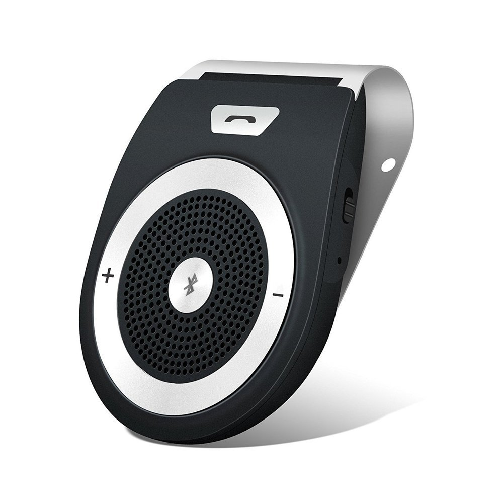 YETOR Bluetooth Car Kit HandsFree, Wireless Motion Speakerphone Upgraded Speaker Audio Receiver Sun Visor Music Player Adapter Built-In Mic with Car Charger - Black FDG