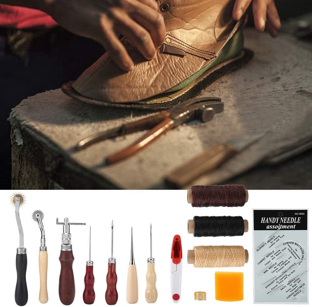 Leder Nadel Ahle Wachs Seil gewachst Fingerhut Gewinde Rei/ßverschlusstasche usw Ejoyous 14 St/ück Leder N/ähwerkzeuge Leder Handwerk DIY Hand N/ähen Kit mit Groover
