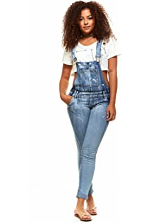 f0a2e64221c V.I.P.JEANS Casual Blue Jean Bib Strap Pocket Overalls for Women Slim Fit  Junior or Plus