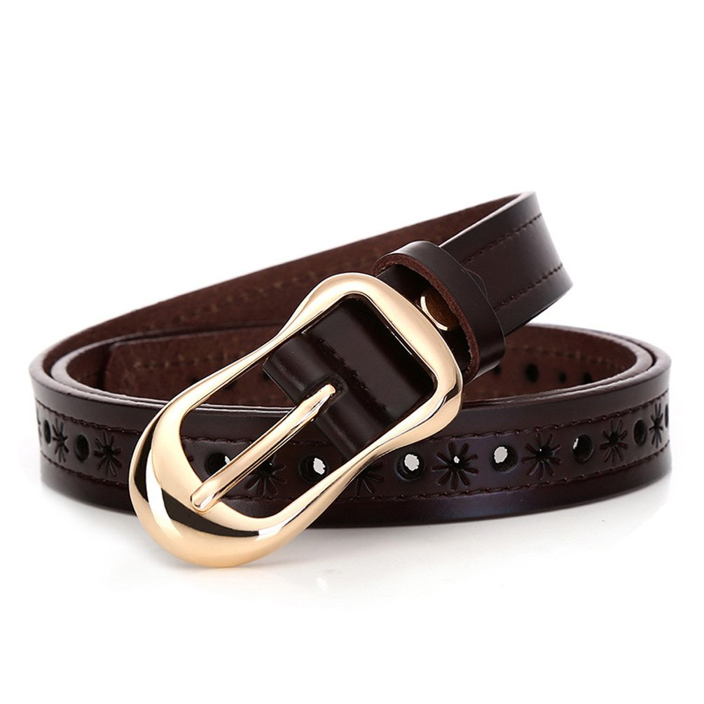 H-Time Women's Belts for Jeans, Hollow Out Leather Belts for Women, Coffee, Up to 34'' Waist(110cm belt)