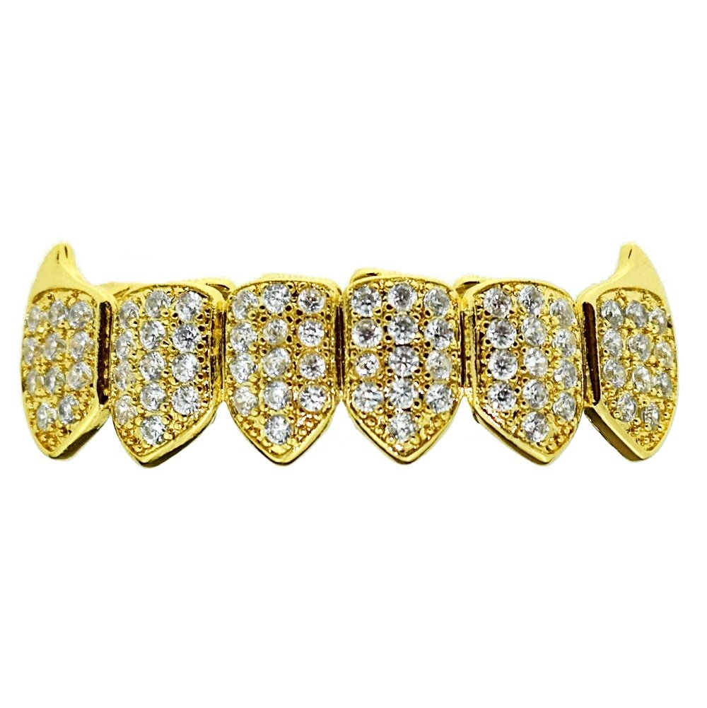 18K Gold Plated Fangs CZ Bottom Grillz Lower Row Cubic Zirconia Micro Pave Teeth Iced Vampire Grills by Best Grillz