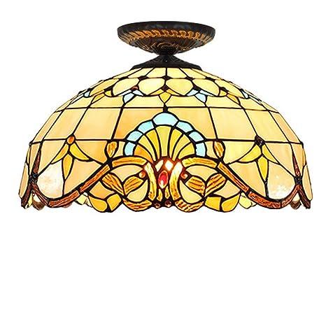 Luz de techo estilo Tiffany, lámpara de techo de 16 pulgadas ...