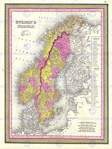1850 MITCHELL MAP SWEDEN AND NORWAY VINTAGE POSTER ART PRINT 12x16 inch (1850 Mitchell Map)