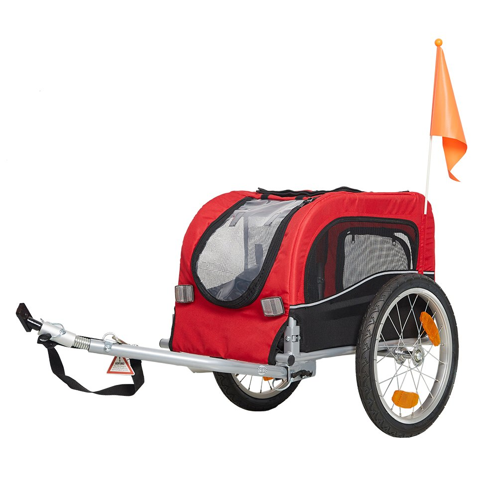 Livebest Pet Bike Trailer Bicycle Dog Carrier with Hitch, Suspension, Safety Flag, and Reflectors for Travel,Red,39.3'' x 19.7'' x 23.6'' by Livebest