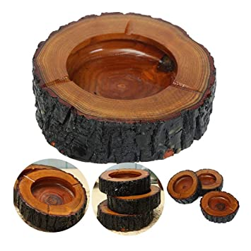 Mopi 12cm Round Wooden Cigarette Ashtray Nice Decoration for House/Room/Office Ash Tray (Pack of 3) -fire Proof Wood