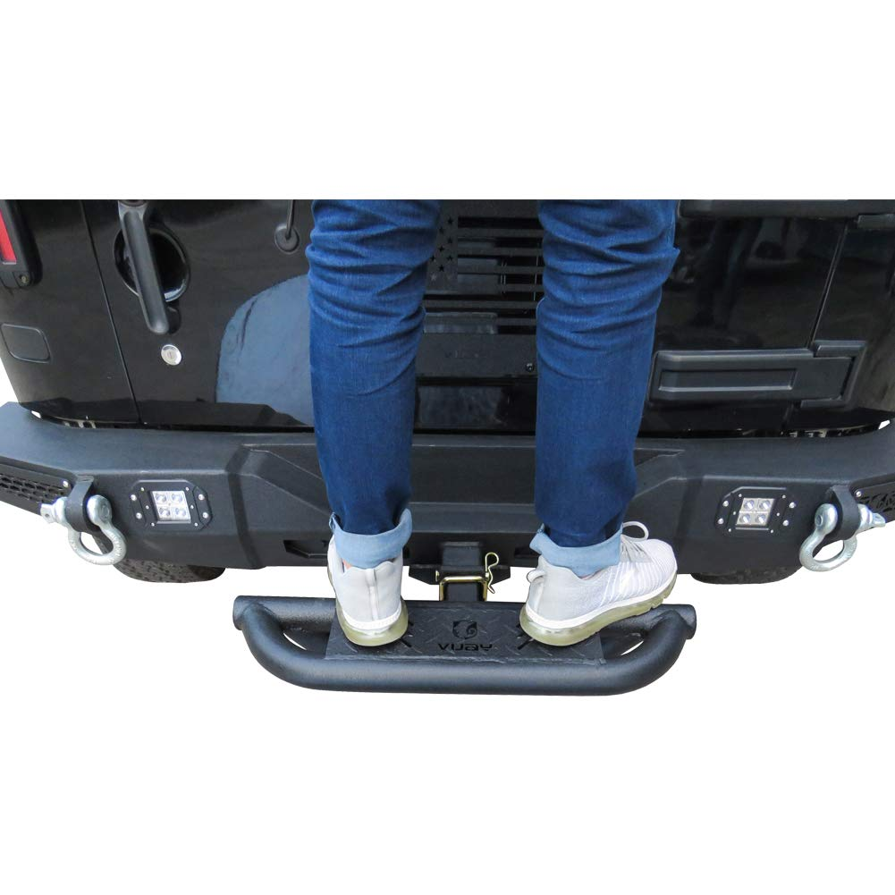 Vijay Rear Bumper for Models with 2 Hook Receiver Hitch Step 3 Texture Black with Pin Lock Universal Stabilizer Connection Step