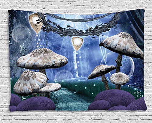 Ambesonne Trippy Tapestry, Abstract Dreamlike Forest Scenery at Night with Mushrooms Pixie Dust and Bubbles, Wall Hanging for Bedroom Living Room Dorm, 80 W X 60 L Inches, Multicolor