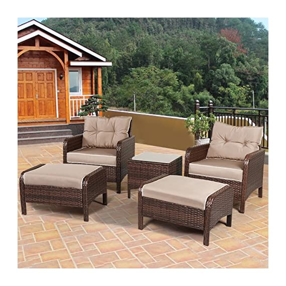 "Tangkula Wicker Furniture Set 5 Pieces PE Wicker Rattan Outdoor All Weather Cushioned Sofas and Ottoman Set Lawn Pool Balcony Conversation Set Chat Set - 【Luxurious Style & Upgrade Comfort】 The conversation set includes 2 single sofas, 2 ottomans and 1 coffee table. The set provides relaxation for 2-4 people. 4"" thickness cushions will offer comfortable experience. 【Sturdy Material & Attractive Appearance 】The set is made of high quality PE wicker and sturdy steel frame. The set is perfect for outdoor usage, and the weight capacity is up to 250 lbs. It will meet daily use. 【Easy to Clean & Variety Formation】All cushions come with zippered covers which are removable and washable by washing machine. With wet cloth you can wipe dust or blot on the glass table top in seconds. And you can put the pieces in variety formation as you like. - patio-furniture, patio, conversation-sets - 61pPx2BflZL. SS570  -"