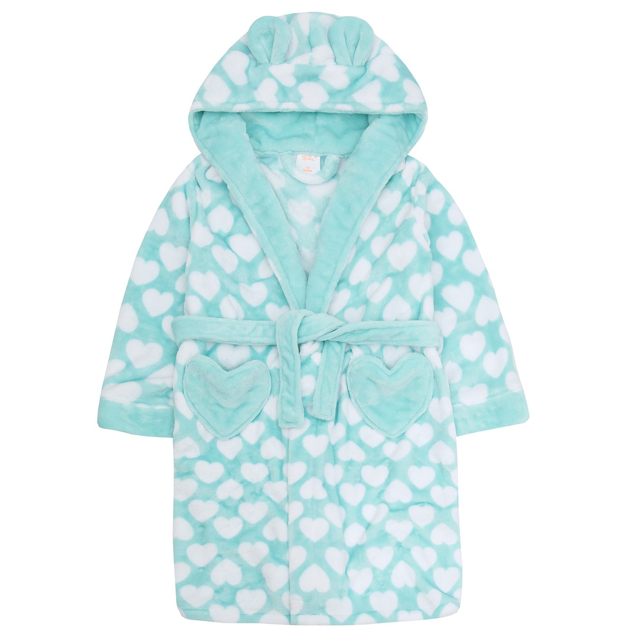 4Kidz Childrens Kids Girls Fleece Dressing Gown - Flannel Fleece Heart Print Hooded Robe