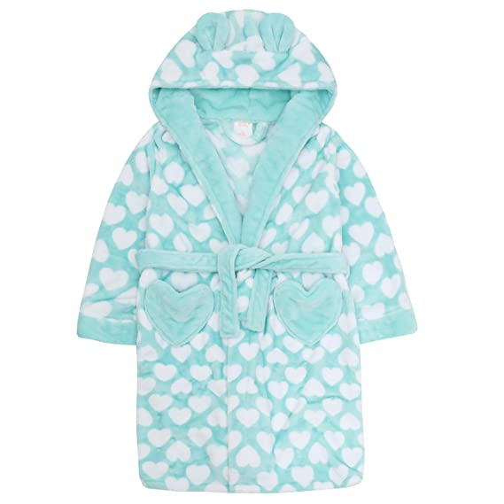 d3f06f8a32 Image Unavailable. Image not available for. Colour: 4Kidz Childrens Kids  Girls Fleece Dressing Gown - Flannel Fleece Heart Print ...