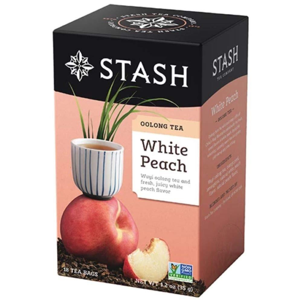 Stash Tea Oolong White Peach Tea 18 Count Tea Bags Individual Oolong Black Tea Bags, Use in Teapots Mugs or Cups, Brew Hot Tea or Iced Tea (8351)