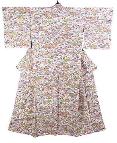 豊かにする新鮮なタヒチリサイクル 着物 小紋 正絹 袷 茶屋辻模様 裄63cm 身丈157cm