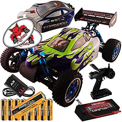 RedCat Racing Tornado EPX Pro Custom Blue Green Flame 1:10 Buggy Bundle (4 Items) Brushless Complete 4x4 RTR Kit Controller LIPO Battery & Charger + Extra Body + 8 AA ProCell Batteries + RedCat Decals