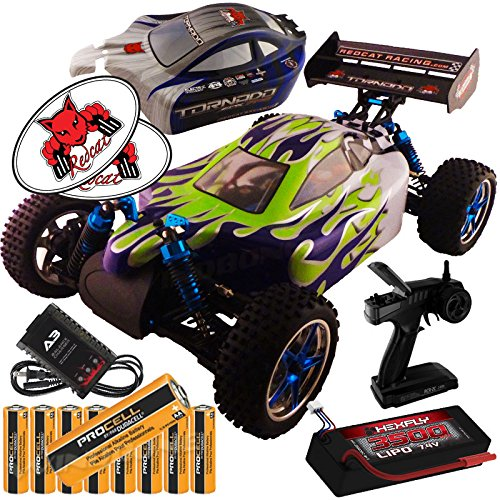 - RedCat Racing Tornado EPX Pro Custom Blue Green Flame 1:10 Buggy Bundle (4 Items) Brushless Complete 4x4 RTR Kit Controller LIPO Battery & Charger + Extra Body + 8 AA ProCell Batteries + RedCat Decals