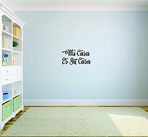 "Design with Vinyl Moti 2018 1 mi casa ES Su casa Living Room Bedroom Quote Peel & Stick Wall Sticker Decal, 8 x 20"", Black"