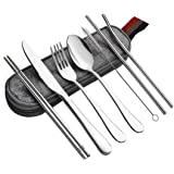 Reusable Travel Utensils Cutlery Set, Stainless Steel Portable Flatware Set Silverware Set for Camping Picnic Office or School Lunch,Dishwasher Safe with Case