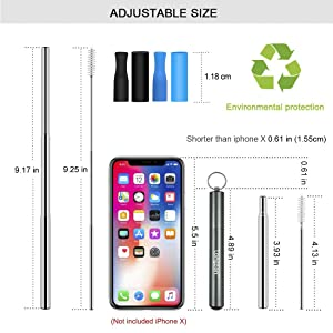Longzon 2 Pack Telescopic Stainless Steel Straws - Reusable, Portable, Collapsible Metal Drinking Straws with 2 Aluminum Key-ring Case & 2 Telescopic Cleaning Brushes for Travel(Black/Grey) (Color: Black + Grey)