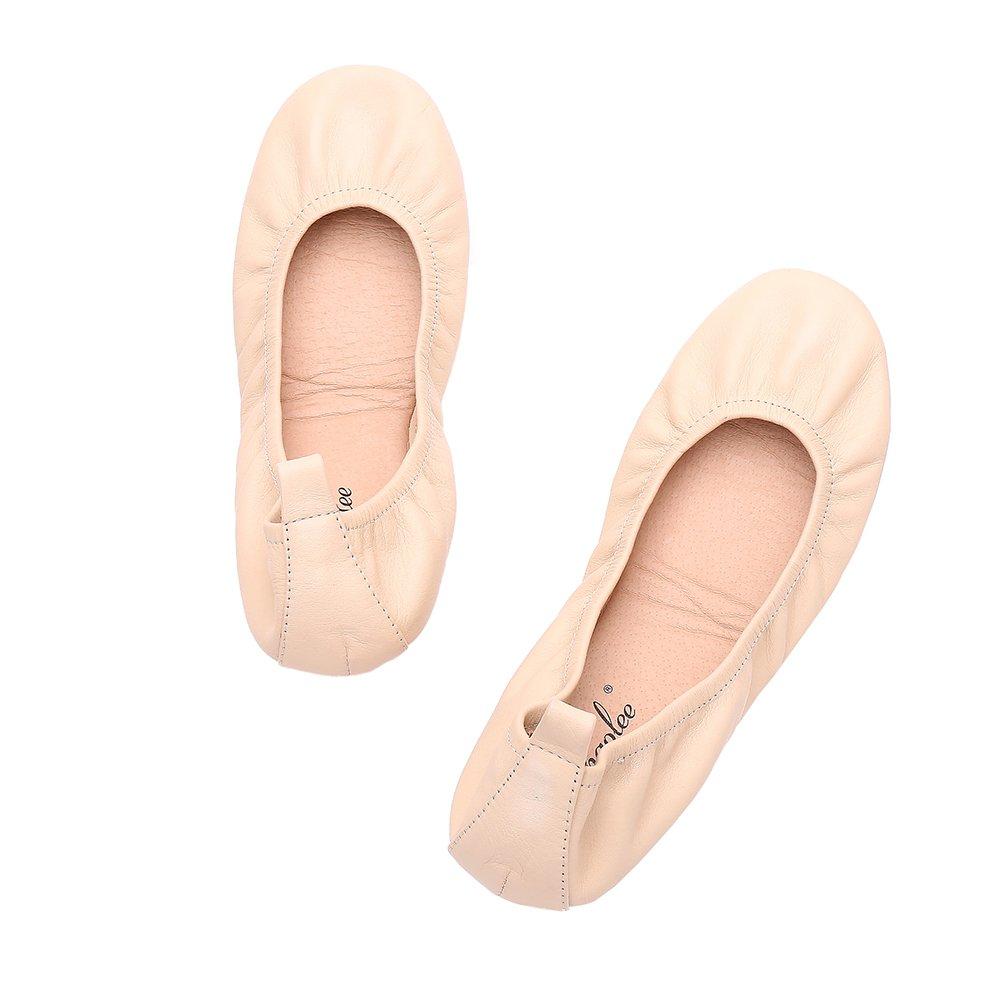 Women Ballet Flat Genuine Leather Ballerina Portable Travel Flats Pocket Shoes + 2 Pairs Freebie of Ballet Flat Socks B07DKY2VYV 8 B(M) US|Nude