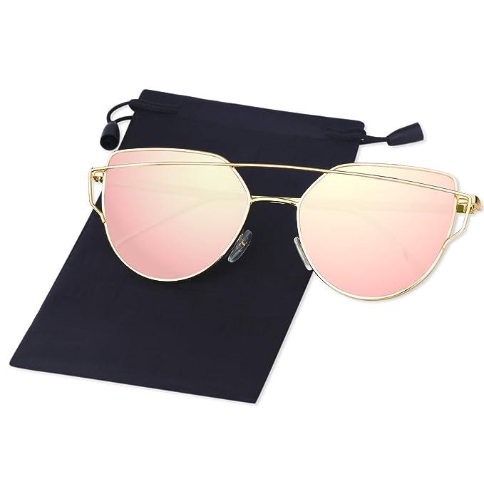 Elimoons Gafas de Sol Moda Marca Metal Para Mujer Lentes ...