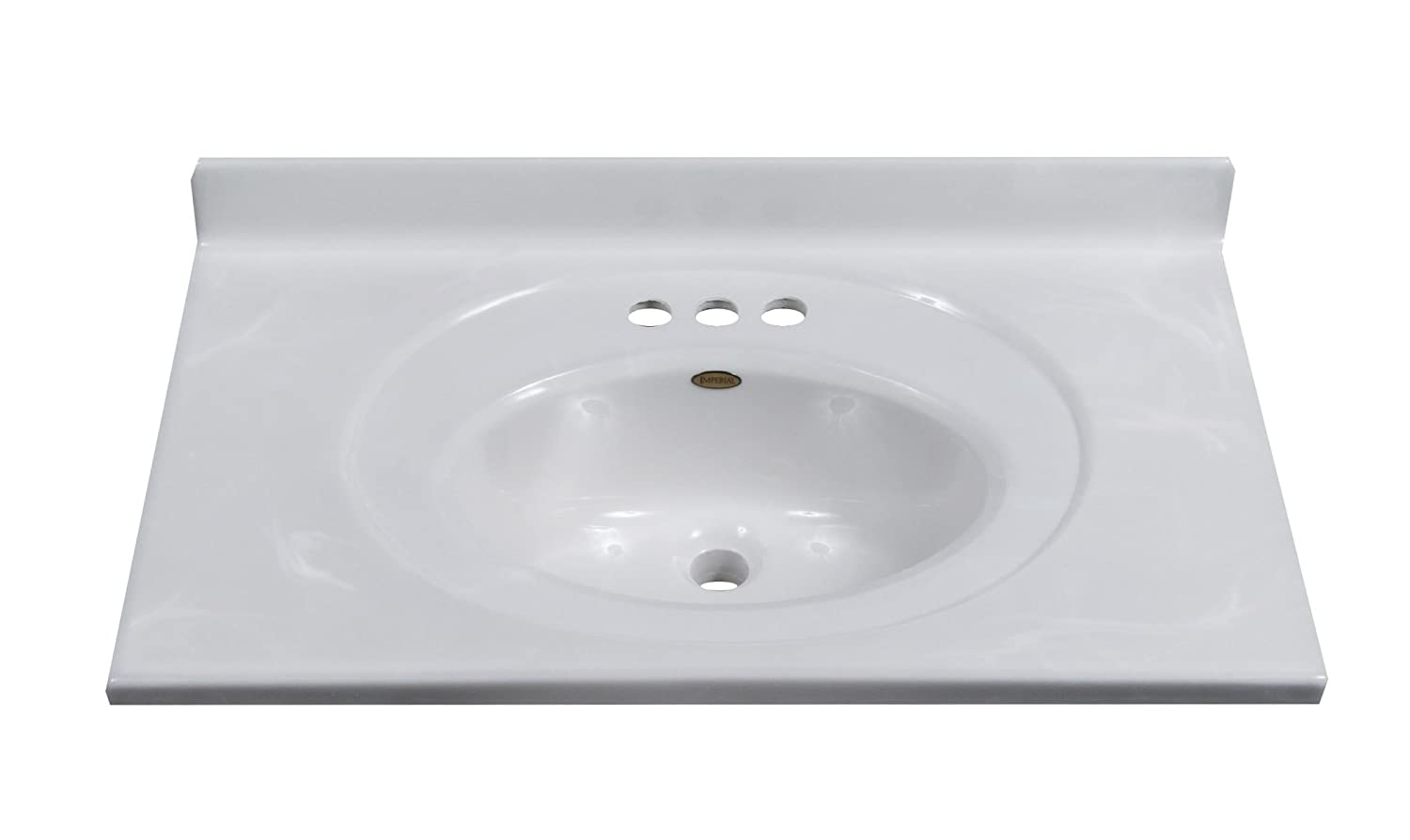 Imperial FS3119W Bathroom Vanity Top With Recessed Center Oval Bowl, White  On White Gloss Finish, 31 Inch Wide By 19 Inch Deep   Vanity Sinks    Amazon.com