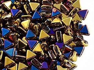 50pcs Kheops par puca Beads–Checa Perlas de impresión de forma triangular, con dos agujeros, 6mm, California Violet